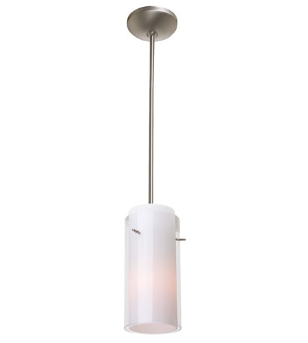 Access Lighting Laura GnG 1 Light Glass in Glass Cylinder Pendant in Brushed Steel 28733-BS/CLOP photo