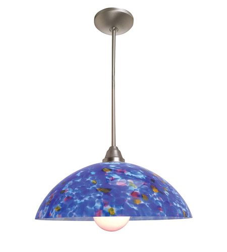 Access Lighting Laura Fire 1 Light Glass Bowl Pendant in Brushed Steel 28765-BS/BLU photo