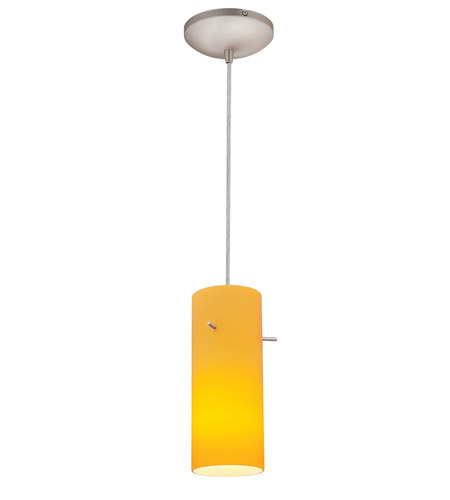 Access Lighting Tali Inari Silk 1 Light Maxi Pendant in Brushed Steel 28830-BS/AMB photo