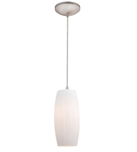 Access Lighting Tali Pearl 1 Light Maxi Pendant in Brushed Steel 28870-BS/WHT photo