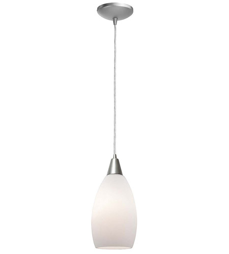 Access Lighting Heather Inari Silk 1 Light Maxi Pendant in Brushed Steel 28912-BS/OPL photo