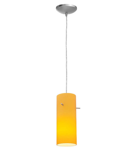 Access Lighting Heather Inari Silk 1 Light Maxi Pendant in Brushed Steel 28930-BS/AMB photo