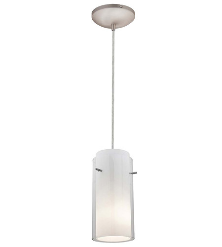 Access Lighting Heather Glass in Glass 1 Light Maxi Pendant in Brushed Steel 28933-BS/CLOP photo