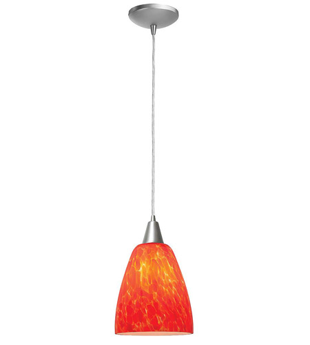 Access Lighting Heather Fire 1 Light Glass Pendant in Brushed Steel 28944-BS/BDY photo