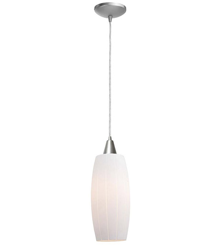 Access Lighting Heather Pearl 1 Light Maxi Pendant in Brushed Steel 28970-BS/WHT photo