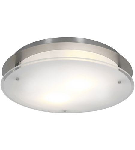 Access Lighting VisionRound 2 Light Ceiling & Wall in Brushed Steel with Frosted Glass 50038-BS/FST photo