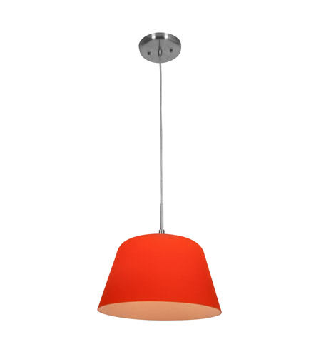 Access Lighting Aire 1 Light Silk Glass Pendant in Brushed Steel with Orange Glass 50170-BS/ORG photo