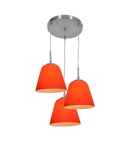 Access Lighting Aire 3 Light Silk Glass Pendant in Brushed Steel with Orange Glass 50173-BS/ORG photo