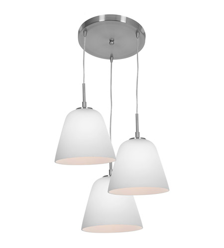 Access Lighting Aire 3 Light Silk Glass Pendant in Brushed Steel with Opal Glass 50173-BS/OPL photo