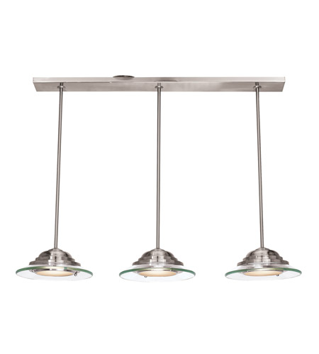 Access Lighting Phoebe 3 Light Pendant in Brushed Steel 50443-BS/8CL photo