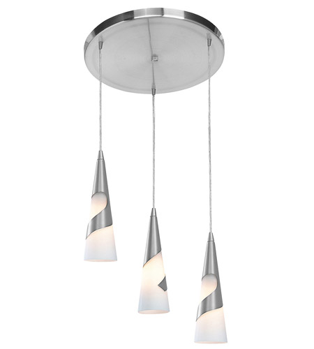 Access Lighting Onyx 3 Light Pendant in Brushed Steel 50502-BS/OPL photo
