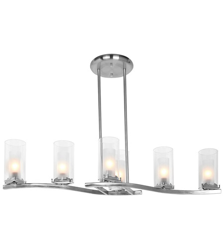 Access Lighting Proteus 6 Light Chandelier in Brushed Steel 50507-BS/FRC photo
