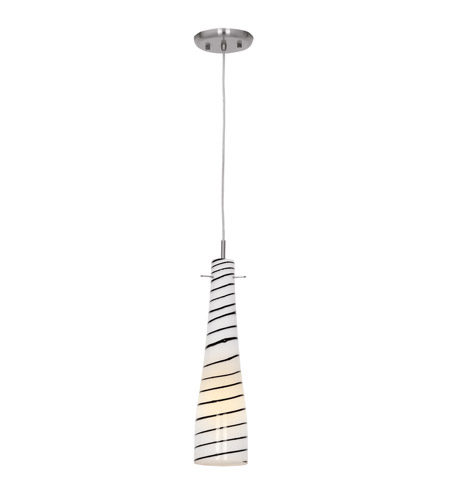 Access Lighting Roxy 1 Light Glass Pendant in Brushed Steel 50563-BS/BLW photo