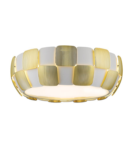 Access 50901-WH/GLD Layers 4 Light 18 inch White Flush Mount Ceiling Light in Gold Acrylic, Incandescent photo