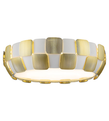 Access 50902-WH/GLD Layers 6 Light 22 inch White Flush Mount Ceiling Light in Gold Acrylic, Incandescent photo