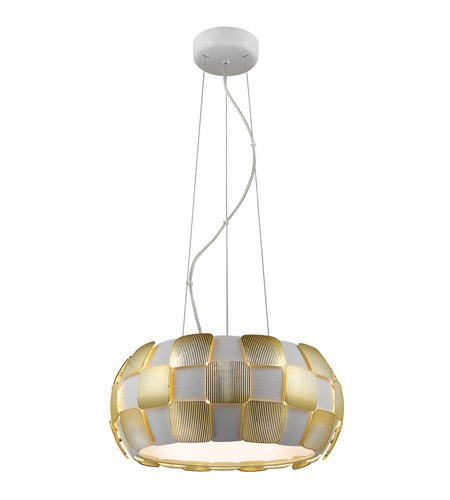 Access 50906-WH/GLD Layers 5 Light 18 inch White Pendant Ceiling Light in Gold Acrylic, Incandescent photo