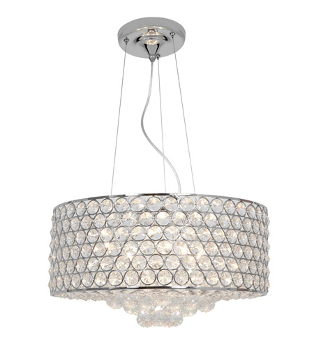 Access Lighting Kristal 6 Light Crystal Cable Pendant in Chrome with Clear Crystal Glass 51004-CH/CCL photo