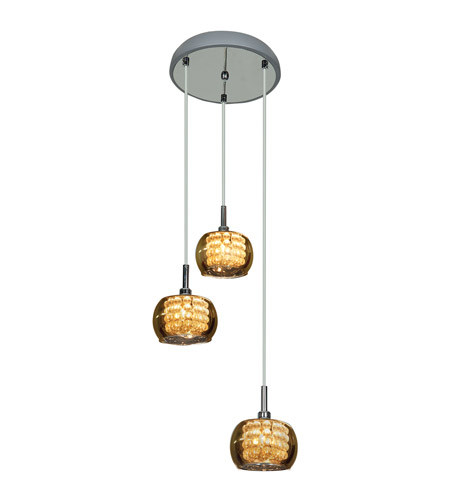 Access 52117-CH/MIR Glam 3 Light 10 inch Chrome Pendant Ceiling Light photo