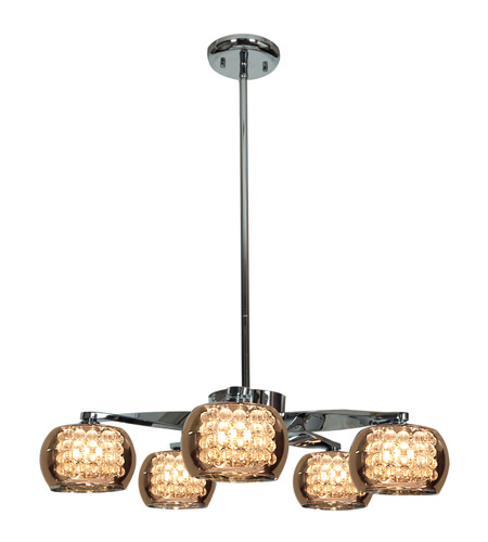 Access 52120-CH/MIR Glam 5 Light 23 inch Chrome Chandelier Ceiling Light photo