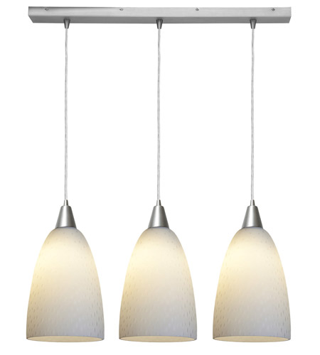 Access Lighting Rain 3 Light Rain Glass Bar Pendant in Brushed Steel 52303-BS/WRD photo