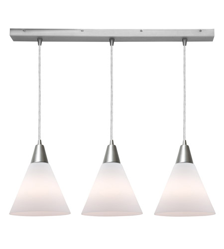 Access Lighting Inari Silk 3 Light Maxi Pendant in Brushed Steel 52304-BS/WHT photo