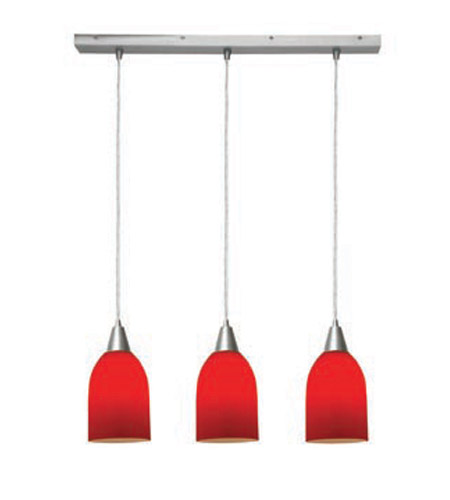 Access Lighting Inari Silk 3 Light Maxi Pendant in Brushed Steel 52318-BS/RED photo