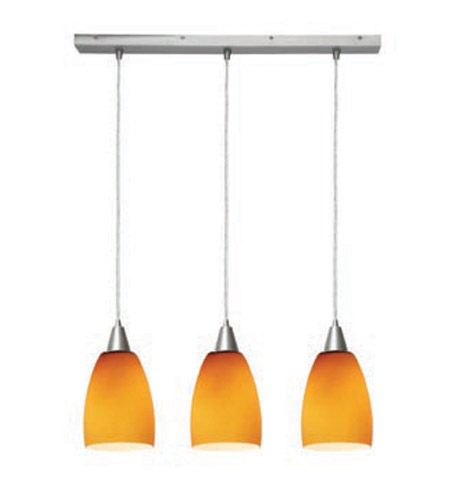 Access Lighting Inari Silk 3 Light Maxi Pendant in Brushed Steel 52369-BS/AMB photo
