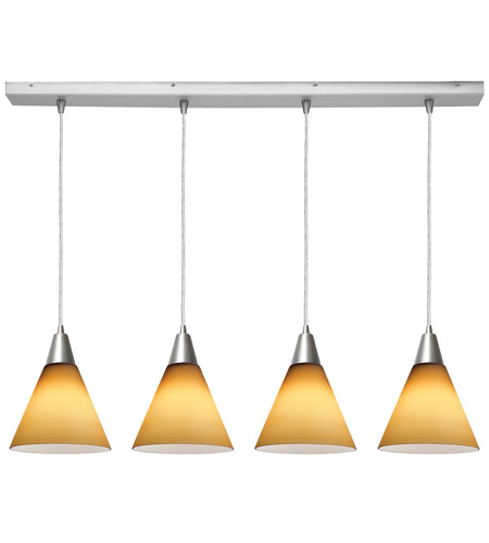 Access Lighting Inari Silk 4 Light Maxi Pendant in Brushed Steel 52404-BS/AMB photo