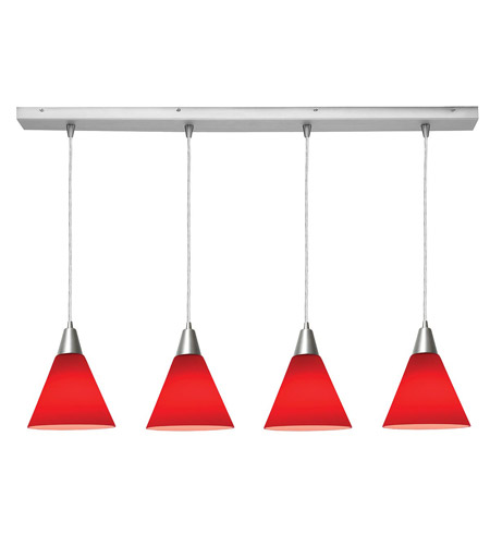Access Lighting Inari Silk 4 Light Maxi Pendant in Brushed Steel 52404-BS/RED photo
