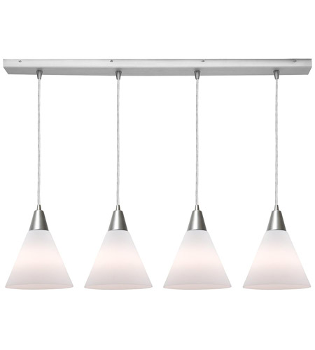 Access Lighting Inari Silk 4 Light Maxi Pendant in Brushed Steel 52404-BS/WHT photo