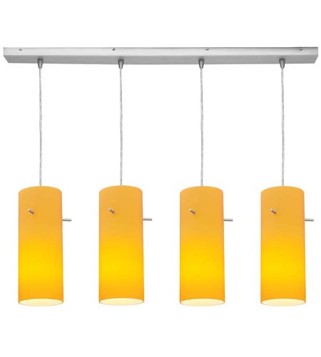 Access Lighting Inari Silk 4 Light Maxi Pendant in Brushed Steel 52430-BS/AMB photo