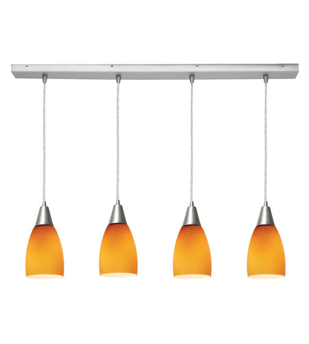 Access Lighting Inari Silk 4 Light Maxi Pendant in Brushed Steel 52469-BS/AMB photo