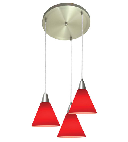Access Lighting Inari Silk 3 Light Maxi Pendant in Brushed Steel 52504-BS/RED photo