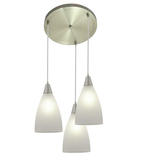 Access Lighting Tsuki 3 Light Maxi Pendant in Brushed Steel 52506-BS/RFR photo