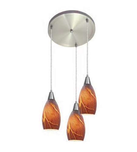 Access Lighting Inari Silk 3 Light Maxi Pendant in Brushed Steel 52512-BS/ICA photo