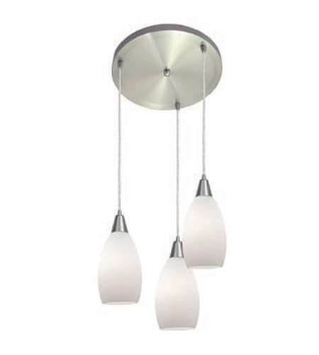Access Lighting Inari Silk 3 Light Maxi Pendant in Brushed Steel 52512-BS/OPL photo