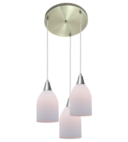 Access Lighting Inari Silk 3 Light Maxi Pendant in Brushed Steel 52518-BS/OPL photo