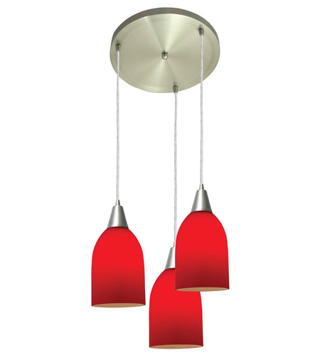 Access Lighting Inari Silk 3 Light Maxi Pendant in Brushed Steel 52518-BS/RED photo