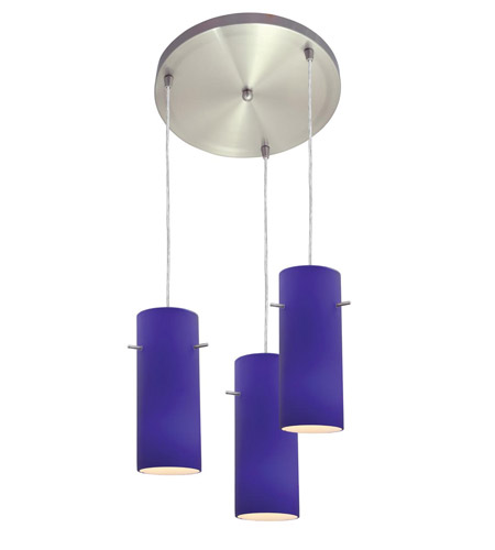 Access Lighting Inari Silk 3 Light Maxi Pendant in Brushed Steel 52530-BS/COB photo
