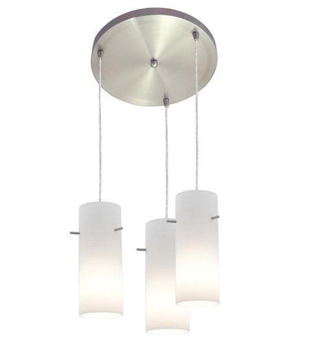 Access Lighting Inari Silk 3 Light Maxi Pendant in Brushed Steel 52530-BS/OPL photo