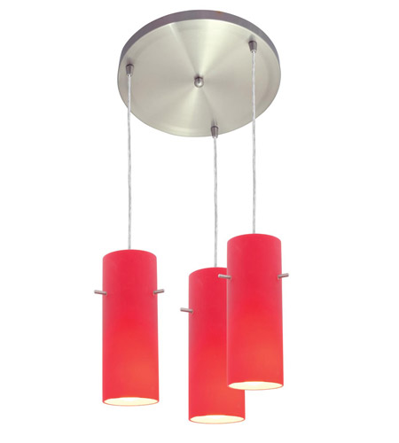 Access Lighting Inari Silk 3 Light Maxi Pendant in Brushed Steel 52530-BS/RED photo