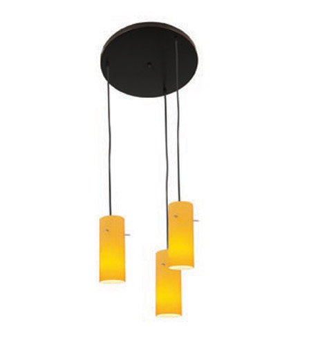 Access Lighting Inari Silk 3 Light Maxi Pendant in Oil Rubbed Bronze 52530-ORB/AMB photo