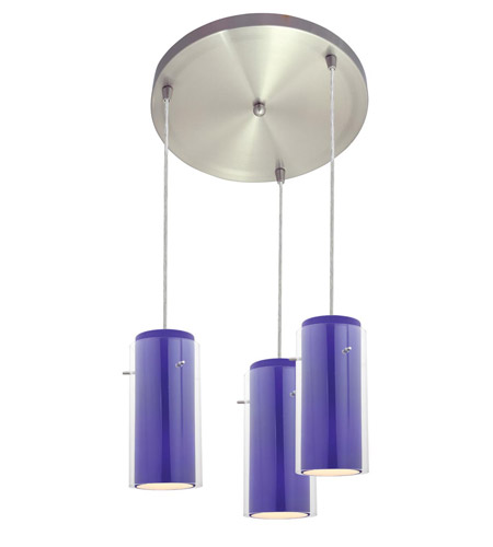 Access Lighting Glass in Glass 3 Light Maxi Pendant in Brushed Steel 52533-BS/CLCB photo