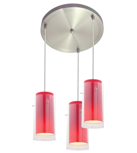Access Lighting Glass in Glass 3 Light Maxi Pendant in Brushed Steel 52533-BS/CLRD photo