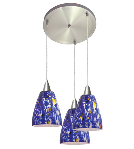Access Lighting Fire 3 Light Fire Glass Disc Pendant in Brushed Steel 52544-BS/BLU photo