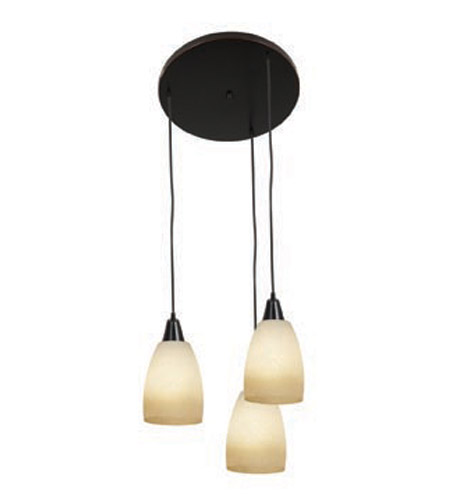 Access Lighting Inari Silk 3 Light Maxi Pendant in Oil Rubbed Bronze 52559-ORB/FRA photo