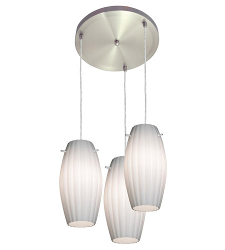Access Lighting Fleur 3 Light Maxi Pendant in Brushed Steel 52576-BS/OPL photo