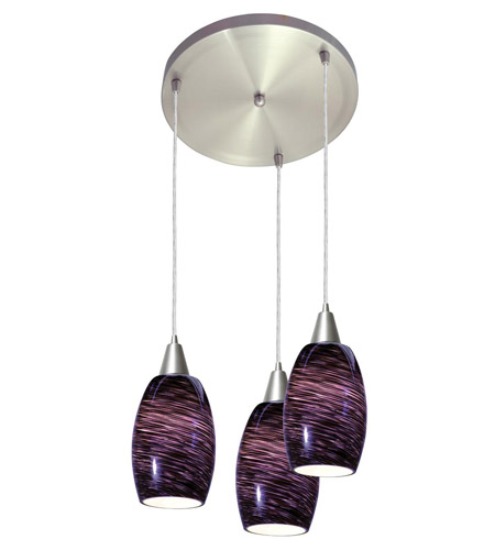 Access Lighting Swirl 3 Light Maxi Pendant in Brushed Steel 52578-BS/PLS photo