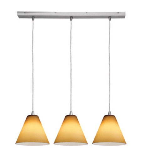 Access Lighting Inari Silk 3 Light Maxi Pendant in Brushed Steel 52604-BS/AMB photo