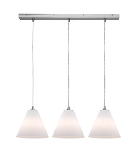 Access Lighting Inari Silk 3 Light Maxi Pendant in Brushed Steel 52604-BS/WHT photo